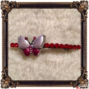 Accessories - Fashion Red Rhinestone Butterfly Hair Clip